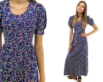 Vintage 70s Neon Floral Maxi Dress, Boho Dress, Hippie, Psychedelic Floral Dress, Empire Waist Dress, Puff Sleeve Dress Δ size: xs / sm