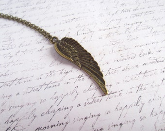 Angel Wing Necklace, Angel Necklace, Made in Sweden, Swedish Jewelry, Antique Bronze Necklace, Antique Bronze Jewelry