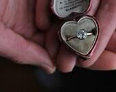 Moissanite Engagement Ring, Handmade Engagement Ring, Yellow Gold Ring, Thin Gold Band, Alternative Engagement Ring, Hammered Band.