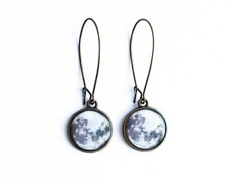 Full moon earrings, space jewelry