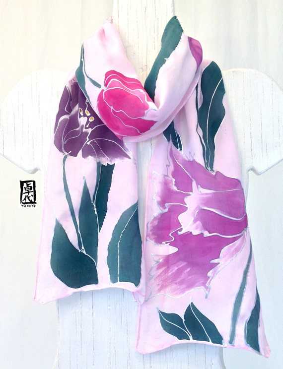 Hand painted silk scarf Pink and Purple Tulips,  Pink Silk Scarf, Japanese Scarf. Silk Scarves Takuyo. Silk Crepe. 8x 54 inches.