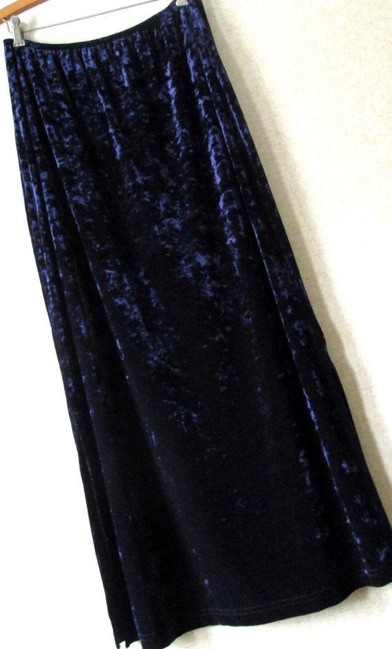 midnight blue crushed velvet maxi skirt vintage 80s 90s