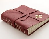 SECONDS Red Leather Journal Sketchbook with Gilded Fleur de Lys