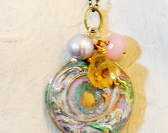 SHABBY CHIC style locket necklace pendant patina pastels citrine romantic picture momento rose quartz lilac pearls boho antique locket