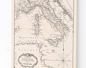 Wood Print Map of Italy
