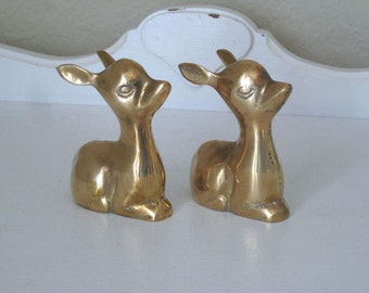 Vintage Figurines - Deer/Doe/Fawn/Bambi - Shiny Brass - 1960's - Retro Brass Deer - Home Decor