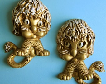 Kitschy Lion Plaques - Set of 2 - Homco - 1970's - Campy Golden Lions