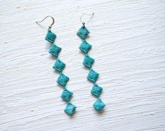 Teal Diamond Lace Earrings