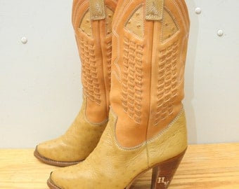 Sz 6m ZODIAC Vintage Yellow Leather Cowboy Country Western Boots WOMEN