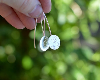 Sterling Silver Earrings, Leaves, Dangle Earrings, Modern, Contemporary Jewelry, Leaf, Garden