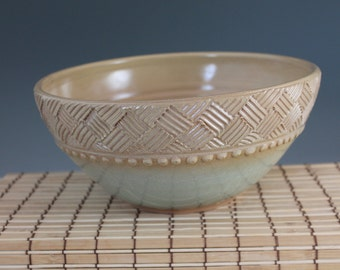 Gift for Mom - Stoneware Serving Bowl - green and yellow with crosshatch and beading - North Carolina Pottery