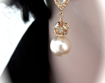 Chunky gold pearl earrings ~ Swarovski pearls and rhinestone fireballs ~ Brides earrings ~ Bridesmaids ~ Wedding earrings ~ Gift ~ LOLITA