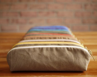 Waxed Canvas Triangle Pencil Case- Vegan Zipper Pouch/ Back to School