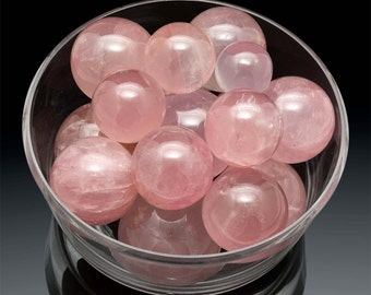 1 Madagascar ROSE QUARTZ Sphere 40 mm + Ring Stand Crystal Healing Stone to Find Love Valentine Gift Feng Shui Reiki  #B8