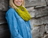Crochet Chunky Cowl Scarf with Button, Wool Blend Circle Scarf in Lemongrass Yellow-Green