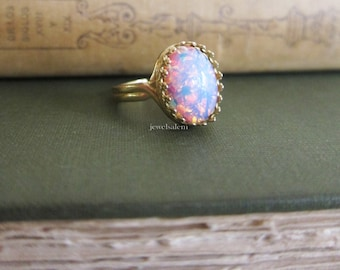 Pink Fire Opal Ring Gift Ombre Gold Silver Ring Friendship Sister BFF Best Friends Galaxy Shimmer Ring Speckled Egg Ring