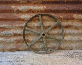 Large Antique Iron Wheel Industrial Valve Factory Old Aged Green Patina Machinery Machine Age Spoked Equipment Industrial Decor Rusty Metal