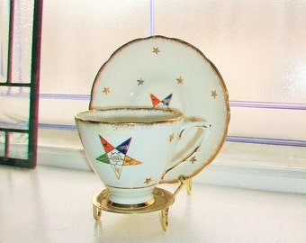 Vintage Order of the Eastern Star Tea Cup and Saucer Royal Stafford Bone China 1950s Masonic