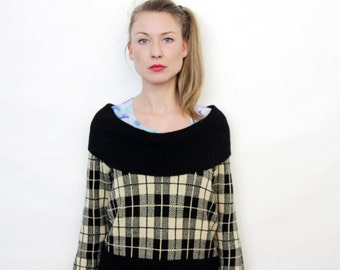 Vintage Black and Cream Plaid Cowl Neck Sweater