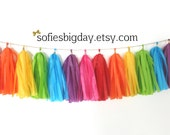 Rainbow Tassel Garland -Rainbow Garland- Tassel Garland -Tissue garland-Rainbow Party- My Little Pony- Unicorn Party- Tissue Tassel Garland