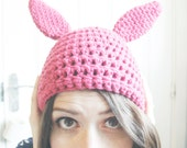 Hand crocheted ADULT SIZE Bunny ears Beanie hat. Crochet rabbit beany.