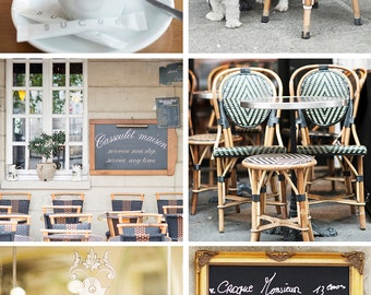 Paris Cafe Photography Set - Kitchen Art Prints, Paris Travel Photographs, Kitchen Decor, Large Wall Art