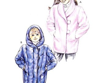 Kwik Sew 1477 Girls button front coat with hood or collar suit fur or quilt type fabric Size 4-5-6-7 uncut sewing pattern