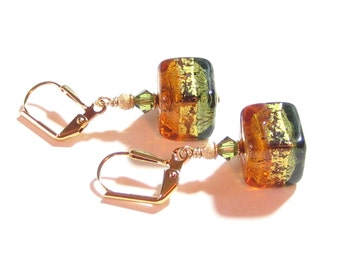 Murano Glass Topaz Olive Green Cube Gold Dangle Earrings, Venetian Jewelry, Gold Filled Leverback Earrings, Italian Jewellery, Gift Idea