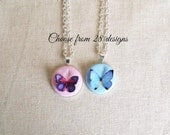 Friendship necklace.  Best friend BFF Personalized butterfly necklace.