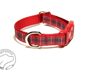"Fraser Clan Tartan Dog Collar - Outlander Tartan - Red Plaid -  3/4"" (19mm) Wide Matingale or Side Release - Choice of collar style and size"
