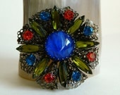 Stunning Filigree Style Rhinestone & Art Glass Brooch with Floral Design- Blue Green Red Retro Hollywood Regency Colourful Antique Inspired
