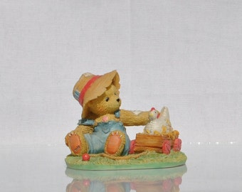 "Vintage Cherished Teddies Collectible ""Henry"" 1993, Enecso, Priscilla Hillman, Collectible Figurine, Teddy Bear Figurine, Bear with Chicken"