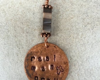 """Men's Brown Cord Necklace with Hand Stamped Copper Tag """"REAL MEN PRAY"""" and Handcrafted Zebra Jasper Charm"""