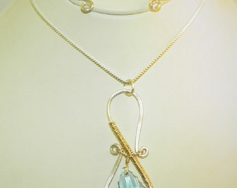 Sterling Silver and Gold Filled Swarovski Necklace Set