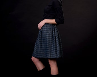 HOUNDSTOOTH, blue / dark blue, wool, high waisted mini skirt, elastic band in the back, one size