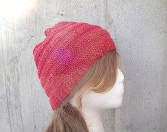Women's Beanie Hat, Beehive Cloche, Knitted, Red Glitter, Teen Girls