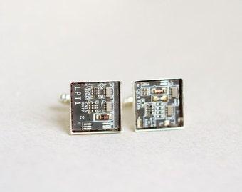 Men's cufflinks - Geeky Cuff links - Techie jewelry - square, palladium plated