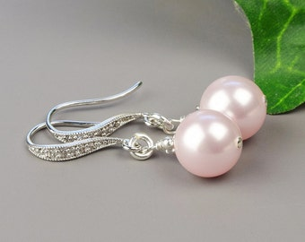 Blush Pink Pearl Earrings - Swarovski Pearl Bridesmaid Earrings - Pearl Bridal Earrings - Pink Pearl Drop Earrings - Bridesmaid Jewelry