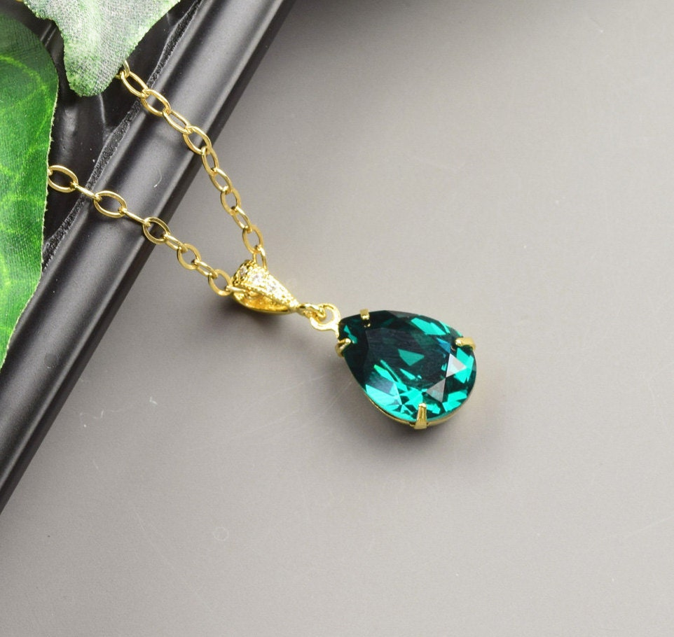 Emerald Green Necklace Swarovski Crystal Necklace Gold