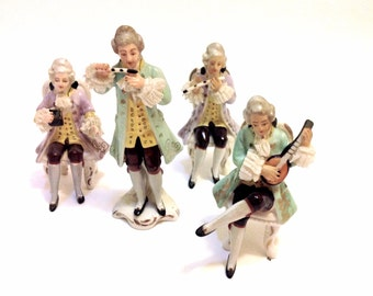 Vintage Dresden Figurines, Germany,  Musicians with Lace, Pastels Lavender and Pistachio