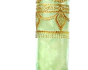 Decorative Candle, Bohemian Home Henna Candle, Green Glass Container Candle with Gold Accents, Bergamot, Lavender, and Grapefruit Scented