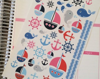 40-50% OFF SALE - Nautical Planner Stickers, Sailboat Planner Stickers, Nautical Stickers, Summer Planner Stickers, set of 45