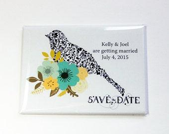 Save the Date, Wedding Save the Date, Save the Date Magnet, Wedding Favor, Magnet, Engagement, Custom, Personalized, bird (4591)