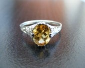 15% Off Sale.S307 Made to Order...New Sterling Silver Antique Style Filigree Ring With 3 Carat Natural Citrine Gemstone