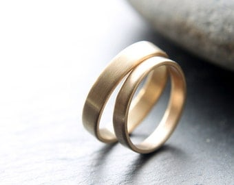 3mm + 4mm wedding ring set handmade from recycled 9ct yellow gold, in brushed finish, flat profile - made to order