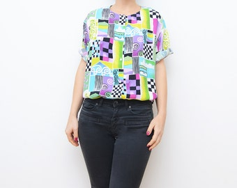 Vintage colorful abstract 80s women shirt / button up blouse top