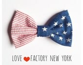 American Flag Hair bow clip Barrette POP USA patriotic hipster put a bow on it handmade hair bows by Love Factory New York