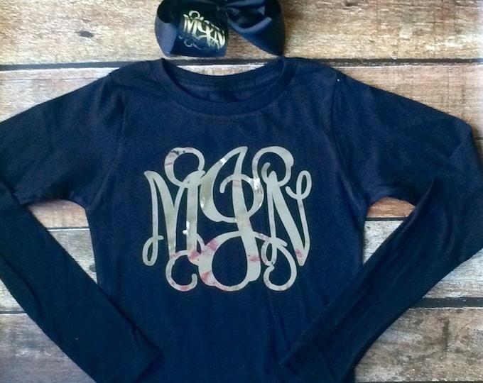 Long Sleeve Monogram Tshirt and Monogram Hair Bow, Monogrammed gifts, Cheer Team, Christmas, Girls, Teens, Womens Long Sleeve Shirt