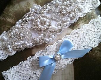 SALE-Wedding Garter-Garters-Stretch lace-something blue-garter-Garter-Rhinestone-Pearl garter-Keepsake-Ivory-Lace Garter-bridal garter-ivory