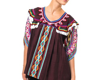 1960s Vintage Rich and Colorful Ethnically Embroidered Blouse  Size S/M/L